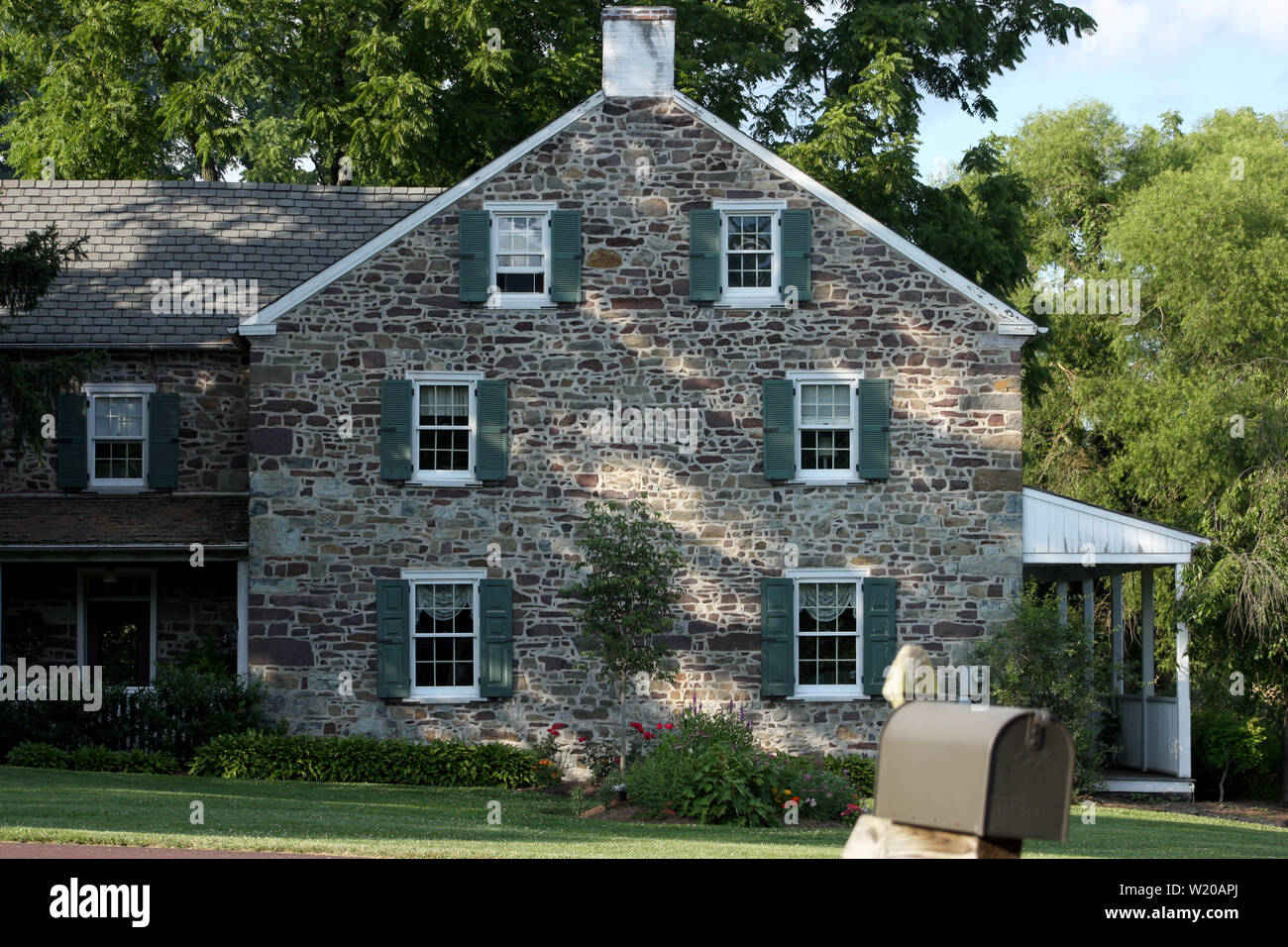 Large well-maintained stone house in Pennsylvania, PA, USA