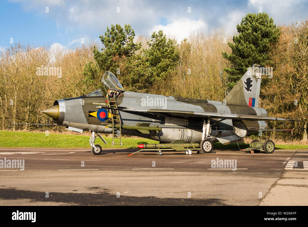 An English Electric Lightning Cold War fighter jet of the Royal Air Force at the Bruntingthorpe Aerodrome and Proving Ground. - Stock Image