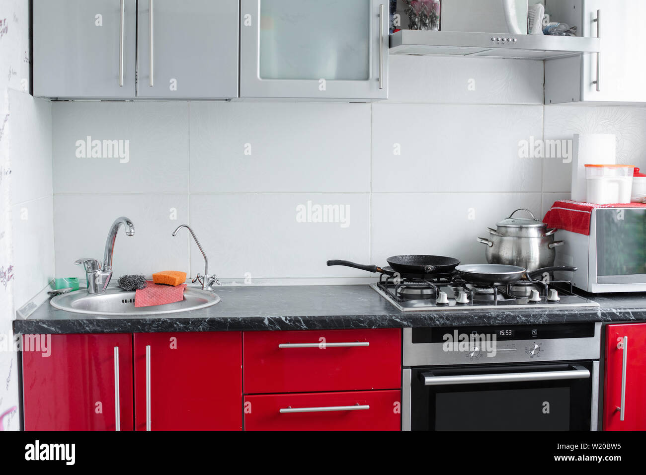 Beautiful Modern Clean Red Kitchen In Small Apartment Full