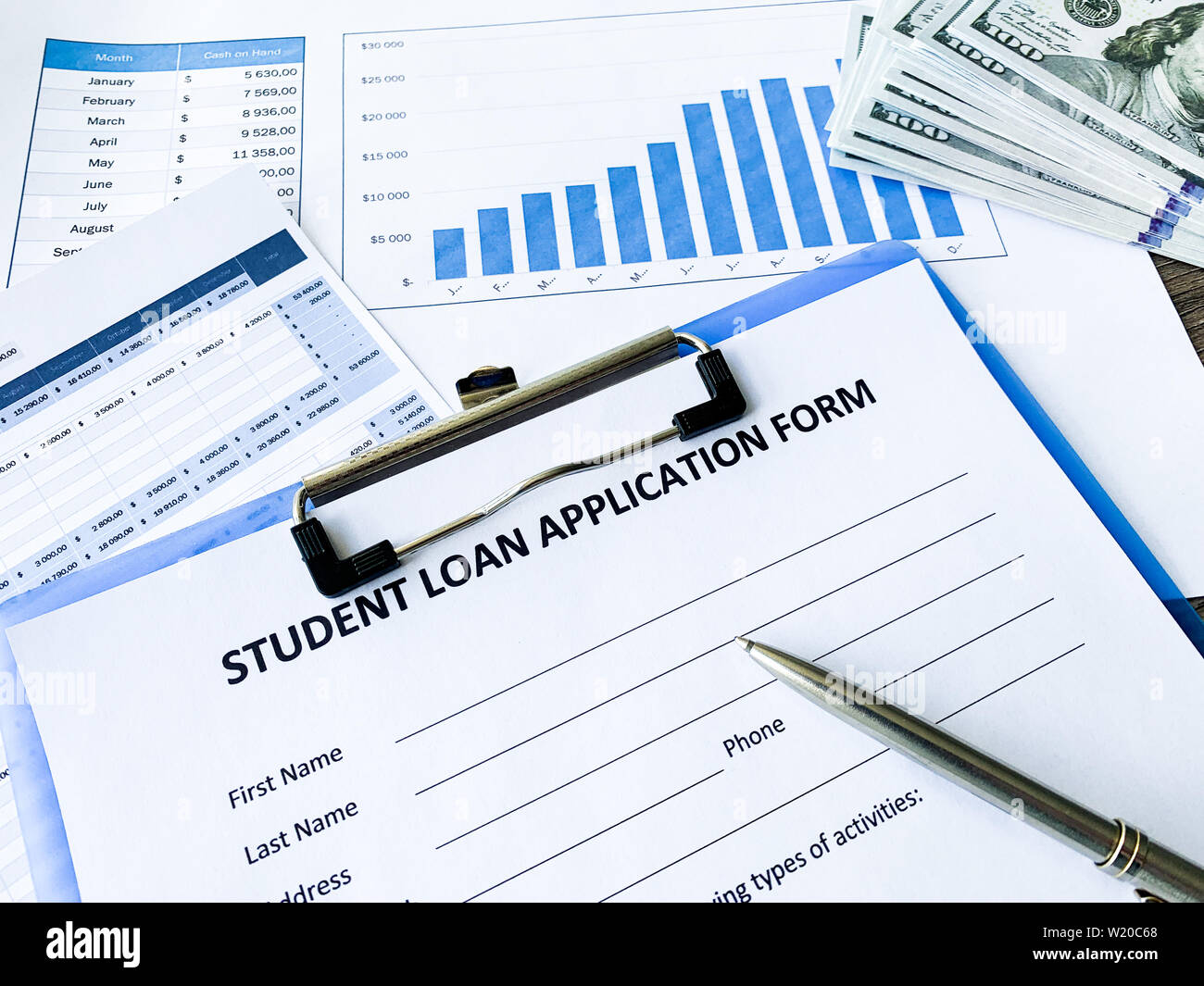 Student loan application form document on table Stock Photo