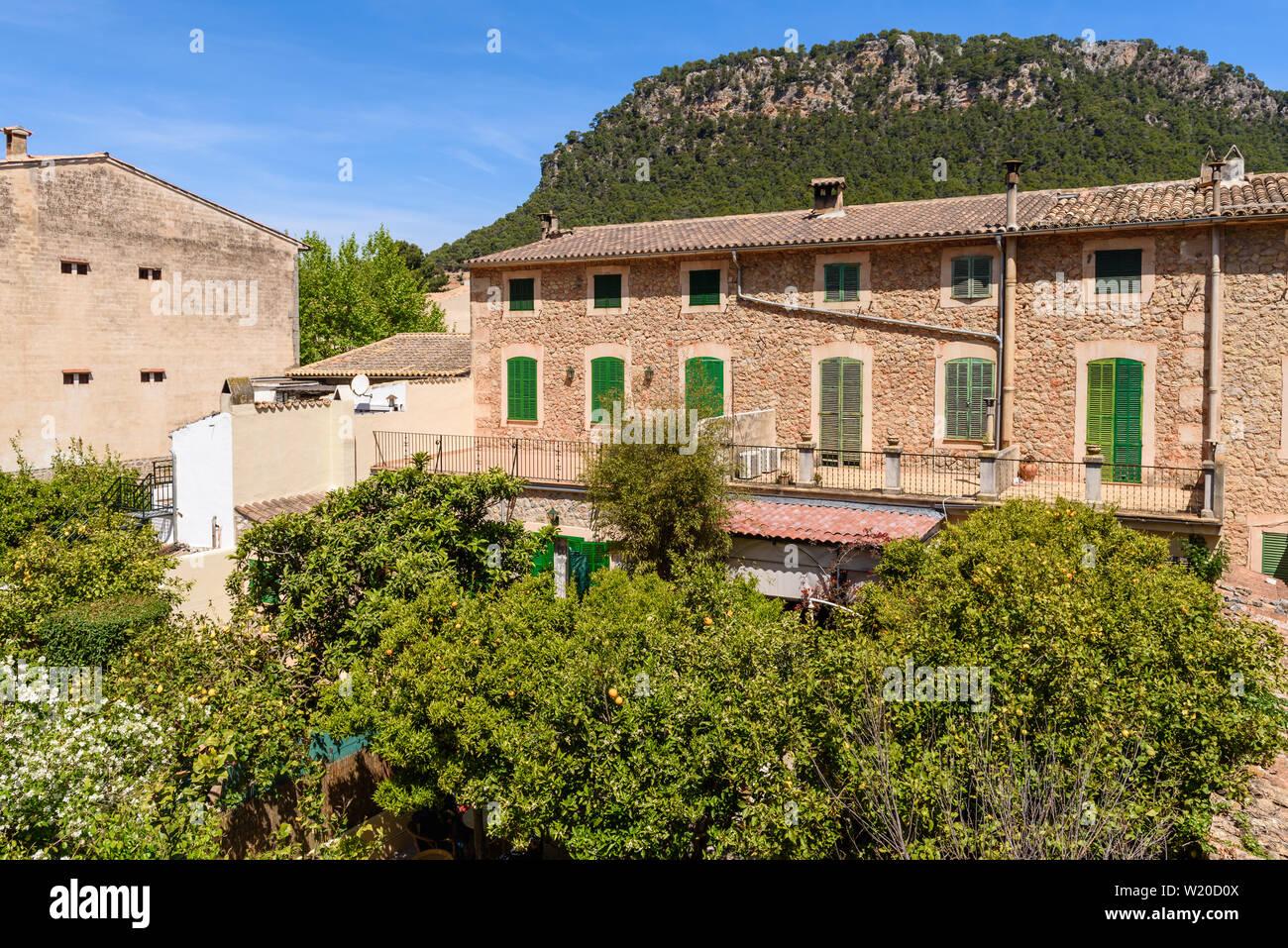 Beautiful architecture in Valldemossa town, Mallorca, Spain, Europe Stock Photo