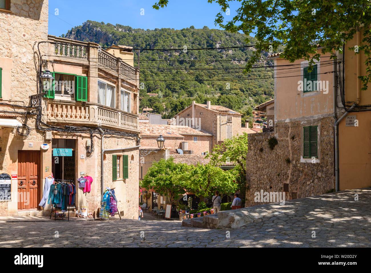 Valldemossa, Mallorca, Spain - May 7, 2019: Street in the centre of Valldemossa old town. Europe Stock Photo