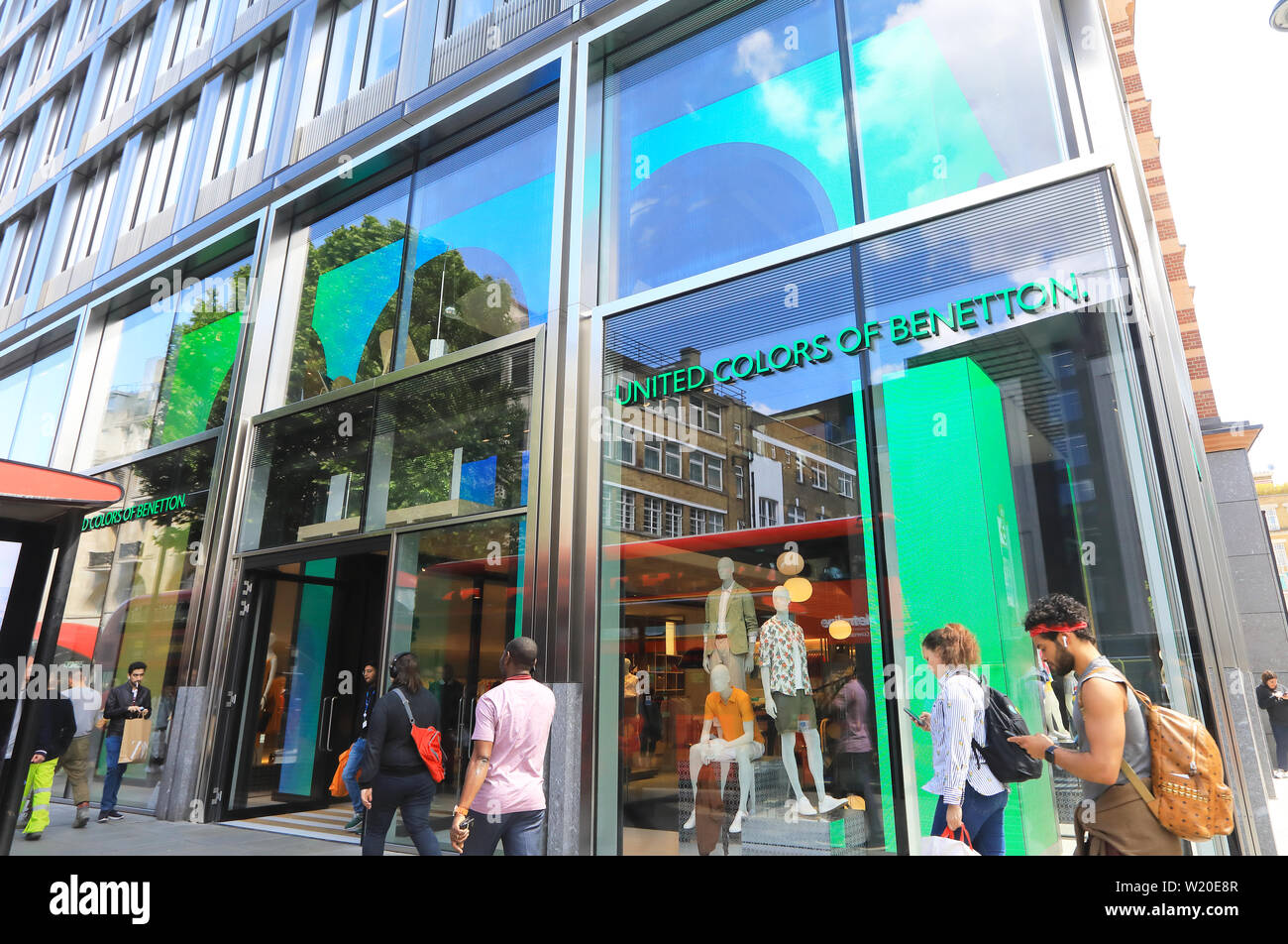 Benetton clothes shop on Oxford Street, on Oxford Street in London, UK - Stock Image
