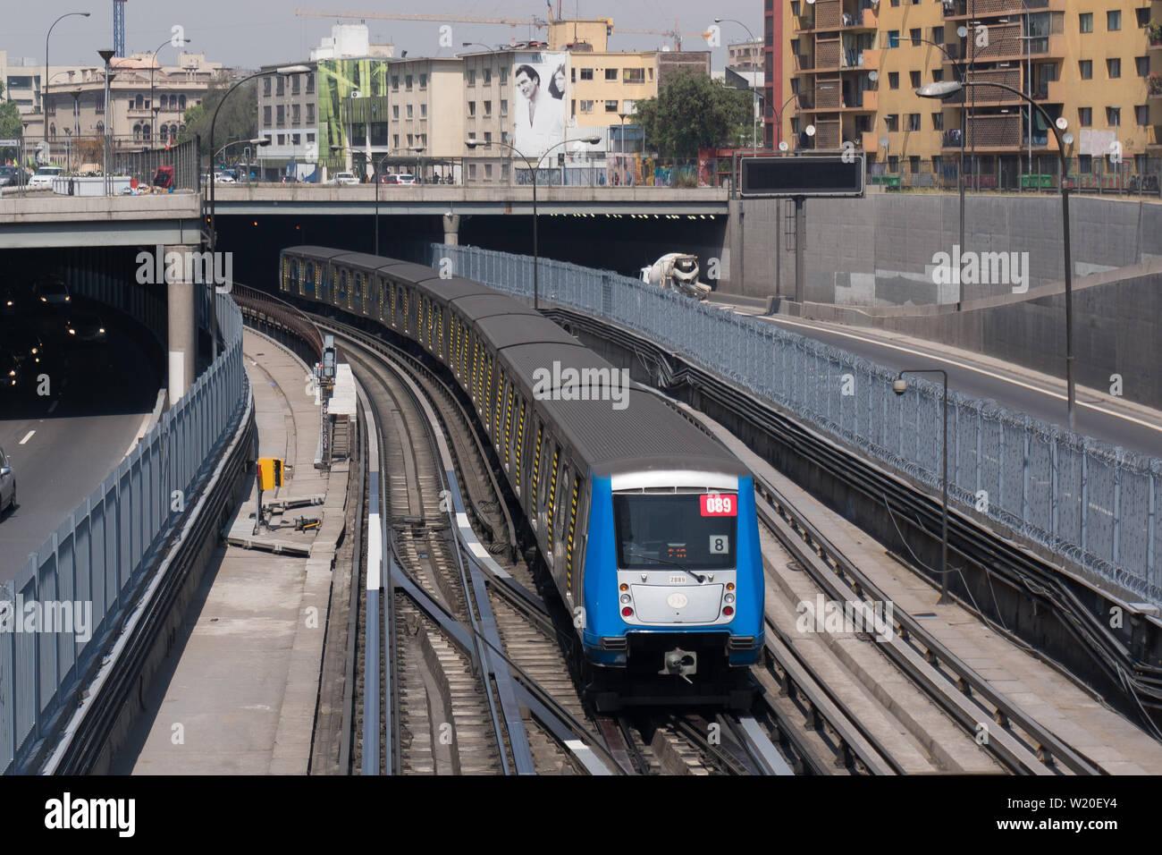 SANTIAGO, CHILE - OCTOBER 2015: A Santiago Metro train entering Los
