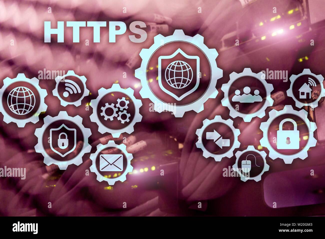 HTTPS. Hypertext Transport Protocol Secure. Technology Concept on Server Room Background. Virtual Icon for network security web service - Stock Image