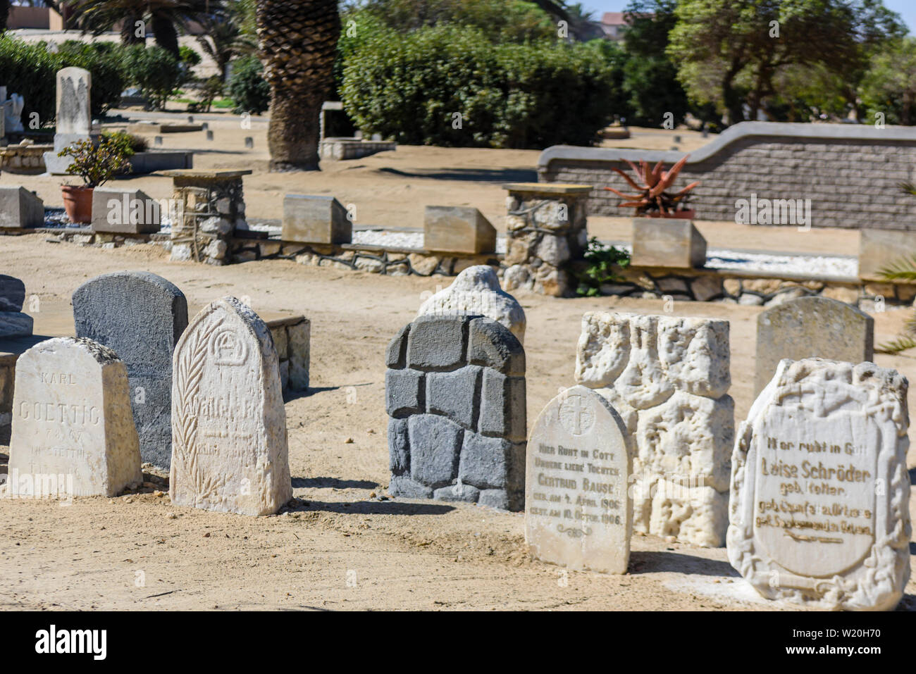 Headstones in a German graveyard, Namibia Stock Photo