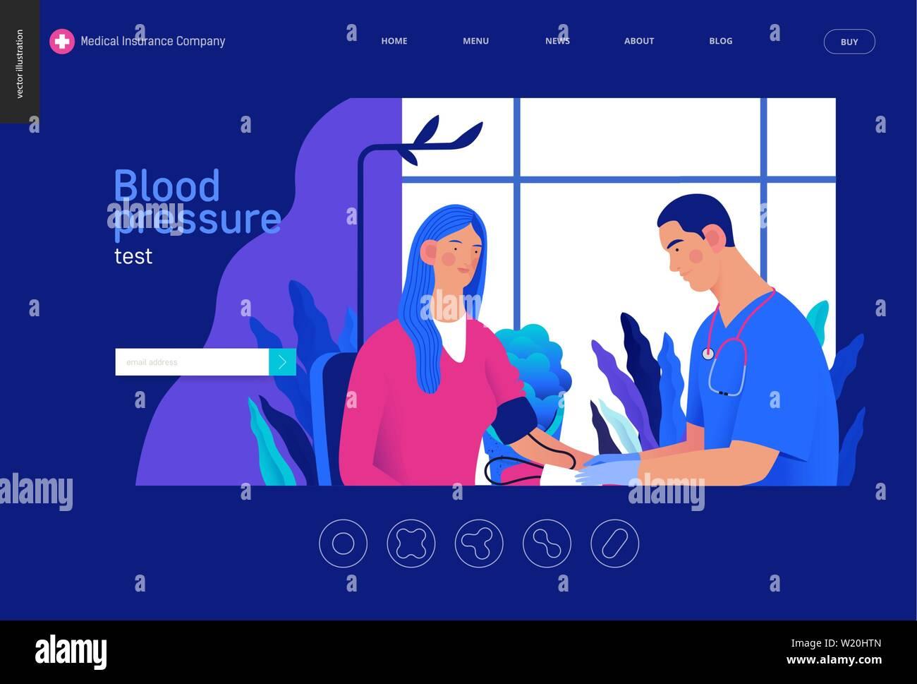Medical tests Blue - blood pressure test - modern flat vector concept digital illustration of blood pressure measurement procedure - a patient and doc Stock Vector