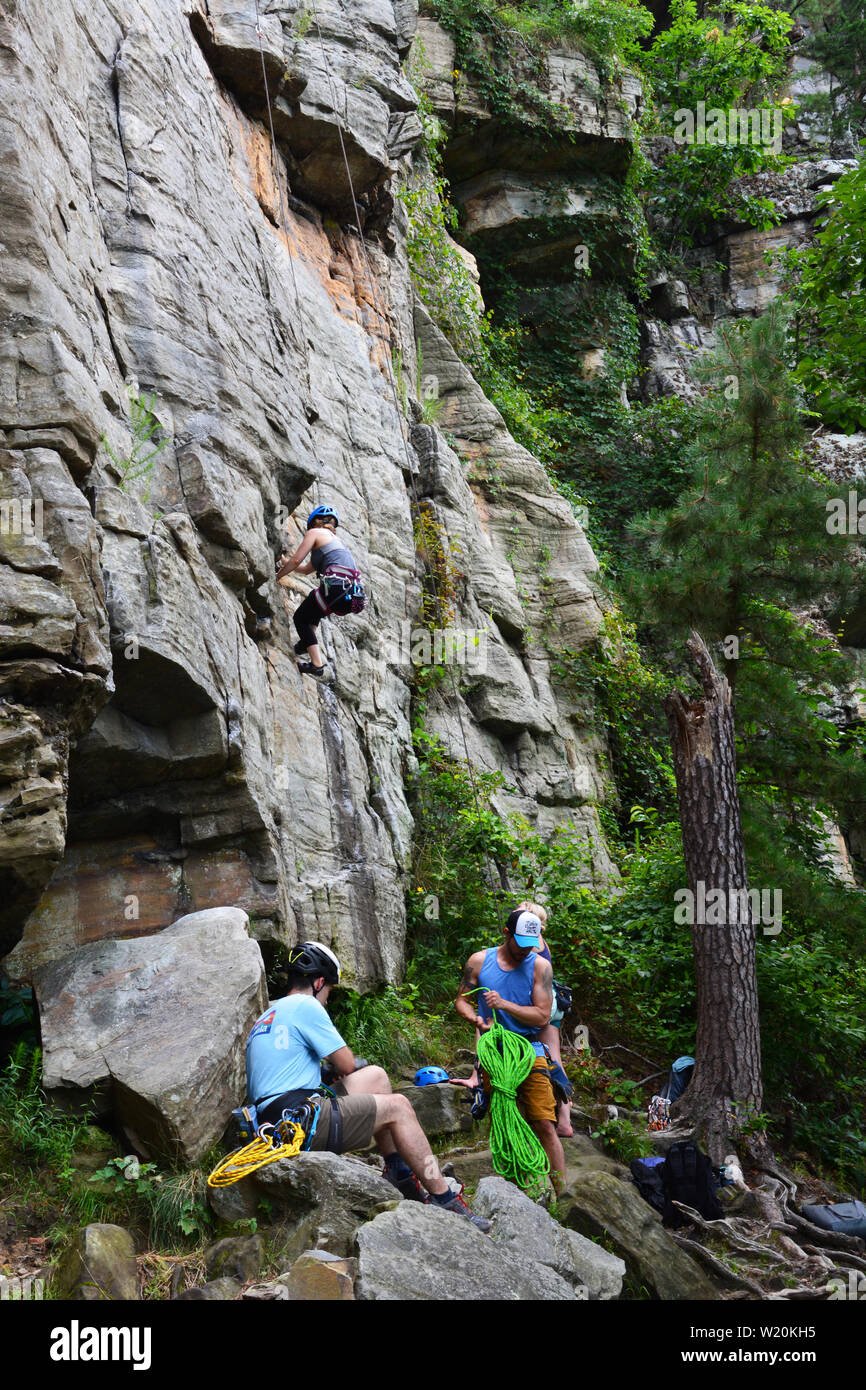 A group of friends free climbing the cliff face on the Ledge Spring Trail at Pilot Mountain State Park in North Carolina. - Stock Image