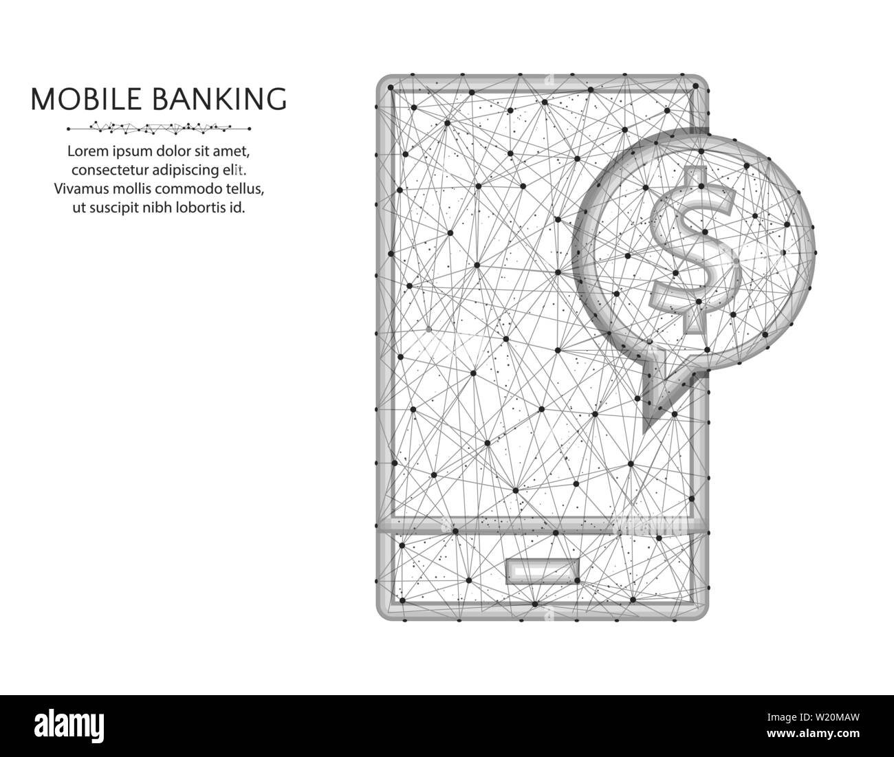 mobile banking low poly design, modern phone in polygonal style, finance or  dollar symbol