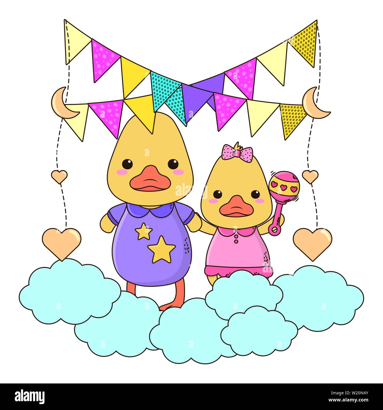 Baby Ducks Cartoons Design Baby Shower Invitation Party