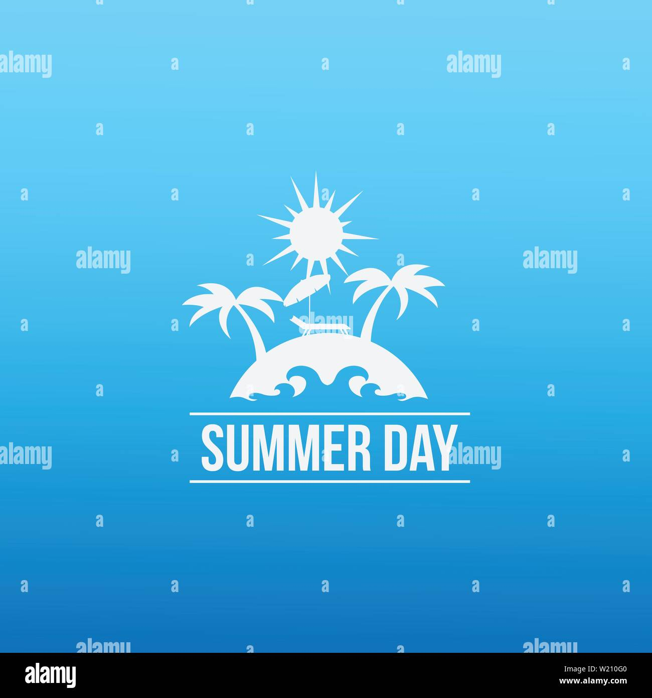Summer beach sunny day vector design style illustrations - Stock Vector