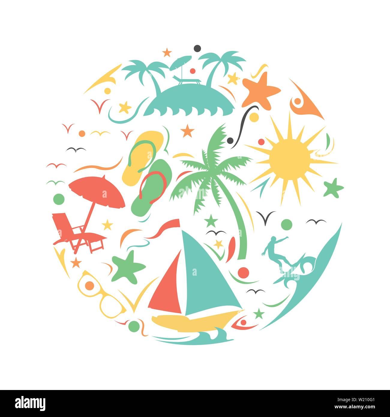 Tropical summer beach icon concept on circle shape - Stock Vector