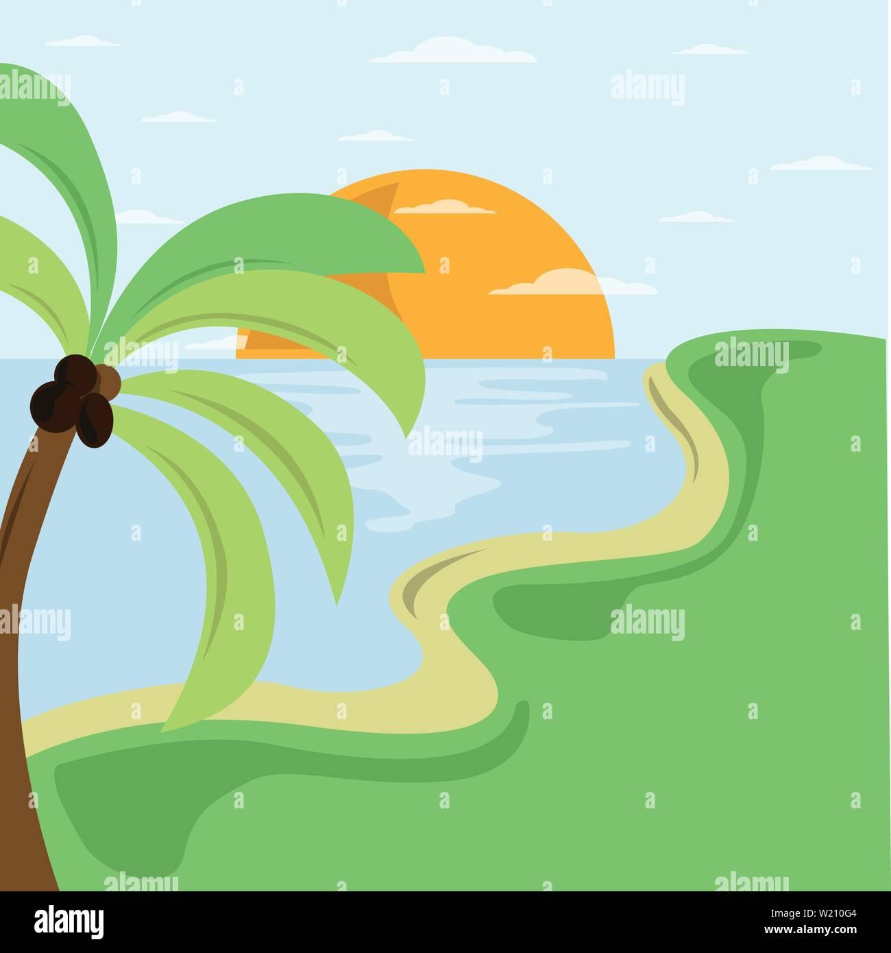 Summer beach illustration on seaside. Vector logo design template. Concept for travel agency tropical resort beach hotel spa. - Stock Vector