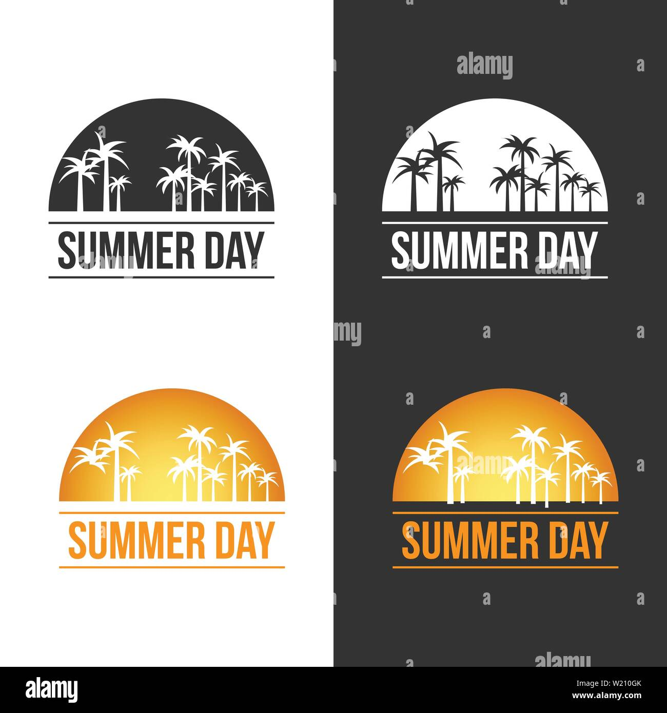 Summer Day theme of Palm on the side of beach vector design illustration - Stock Vector