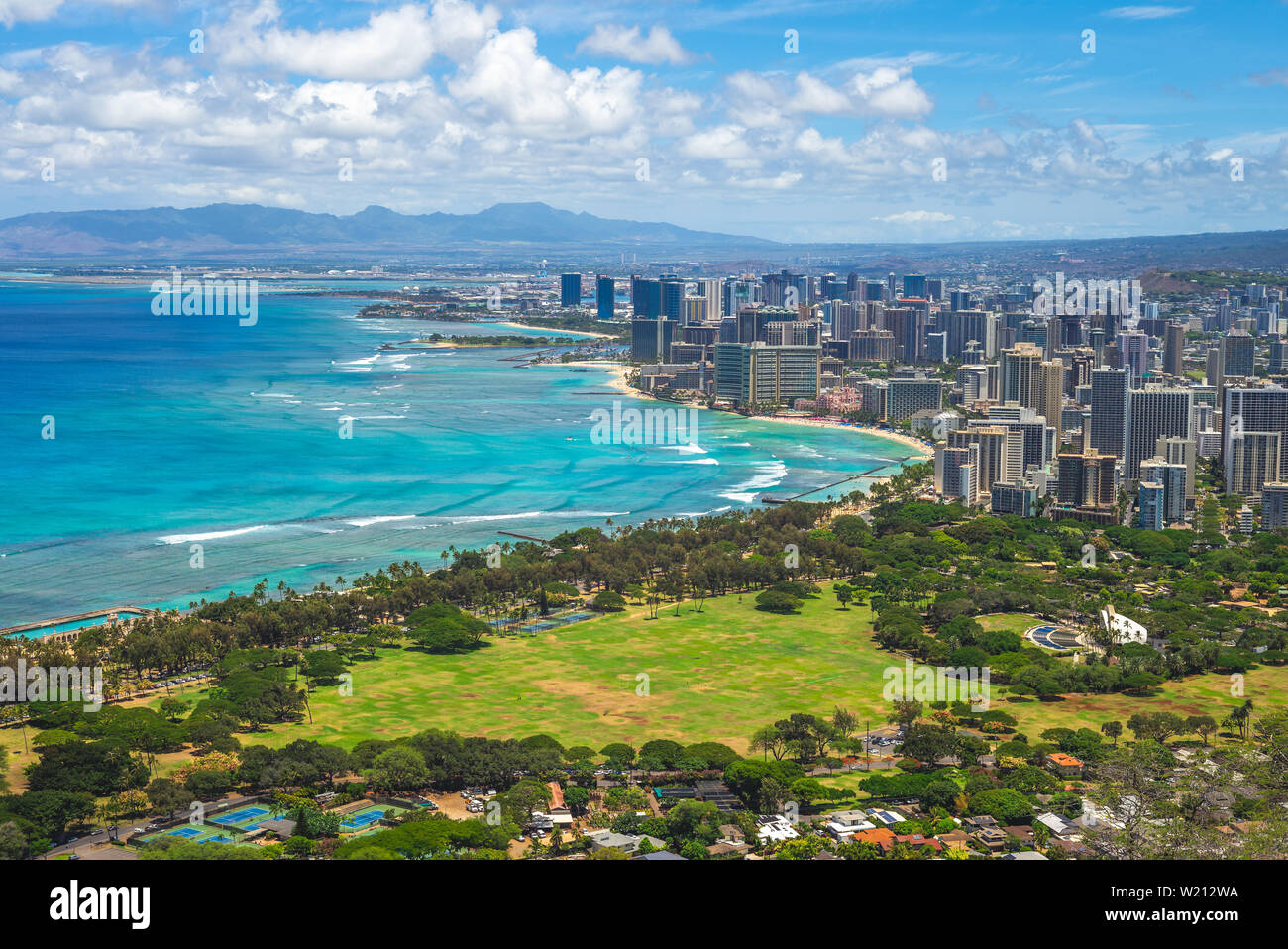 Aerial view of honolulu in Oahu, Hawaii, US Stock Photo