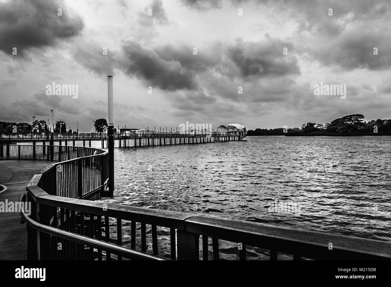 Singapore - Aug 4, 2018: Lower Seletar Reservoir is a reservoir located in the northeastern part of Singapore, to the east of Yishun New Town. Stock Photo