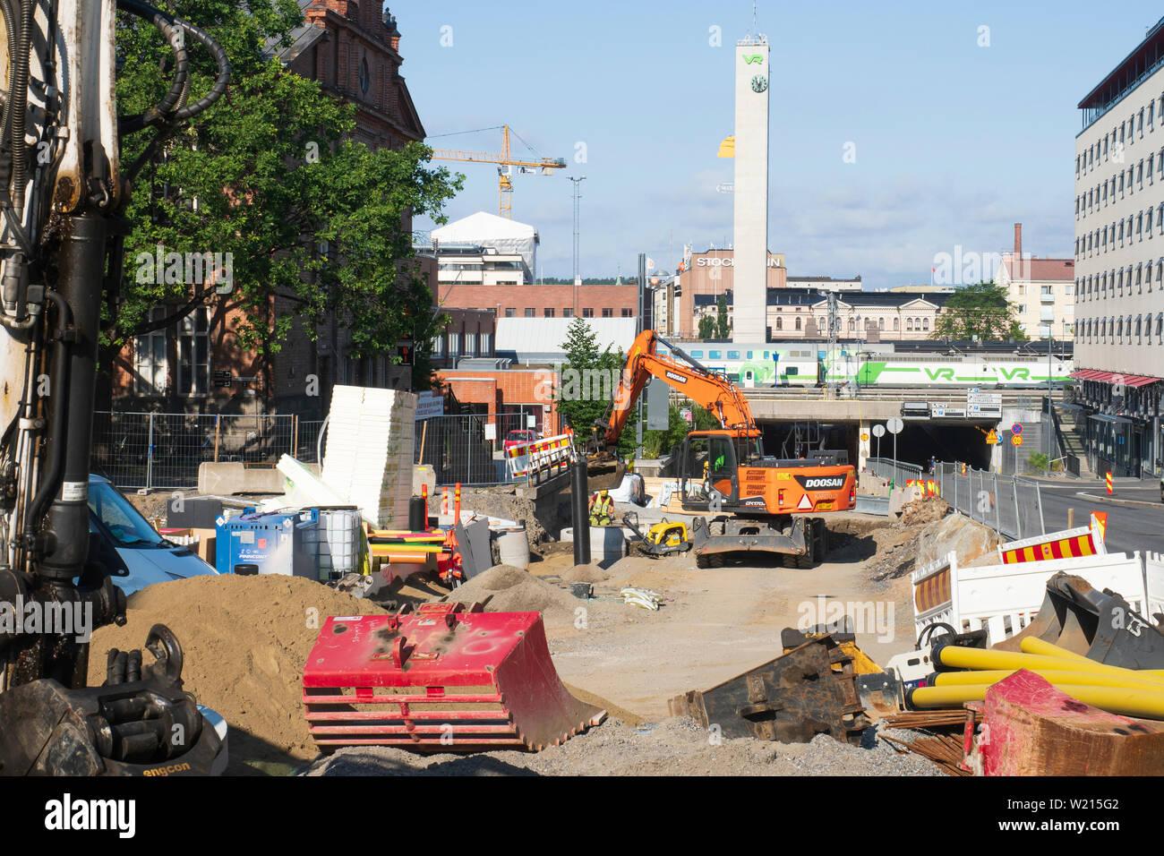 Building Tram Rails at itsenäisyydenkatu Street in Tampere Finland - Stock Image