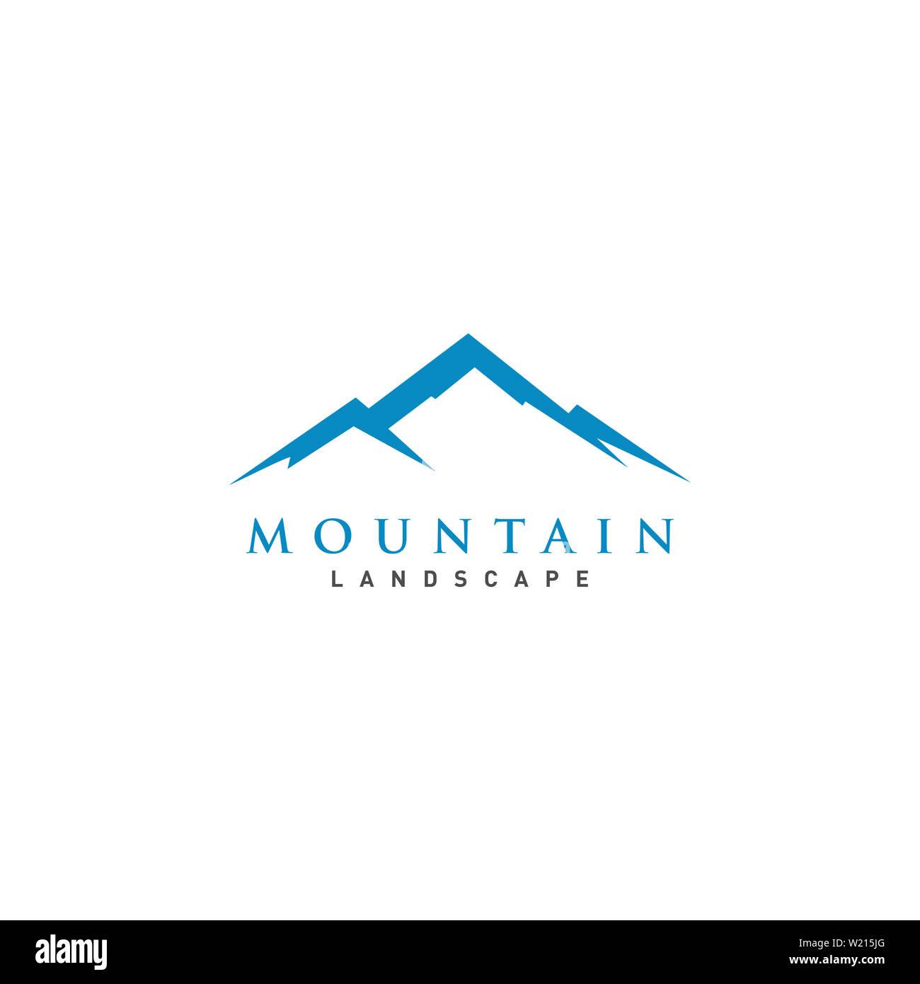 Mountain or hill or Peak logo design vector - Stock Image