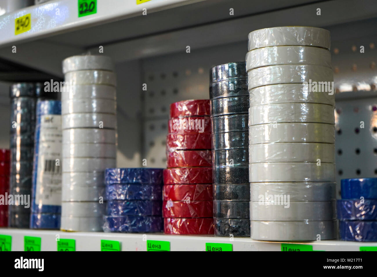 Chelyabinsk Region, Russia - June 2019. Electrical goods store. Sale of electrical tape. Stock Photo