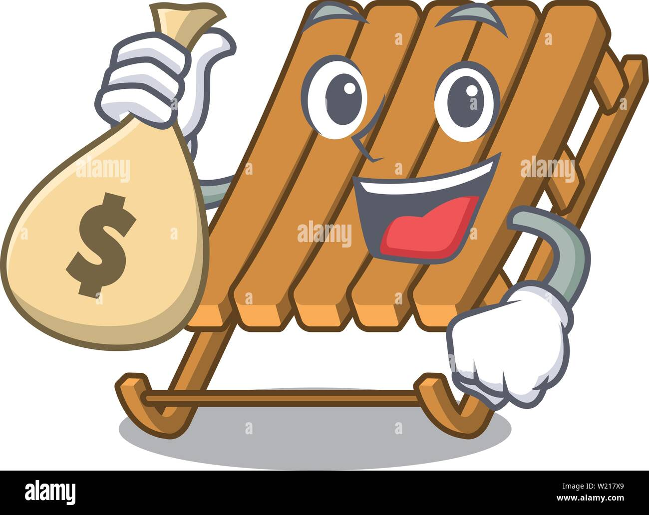 With money bag ice sled in the mascot shape - Stock Image