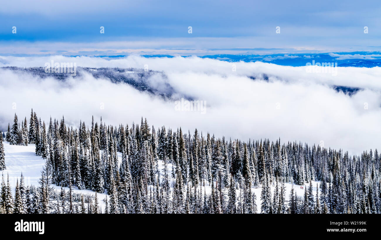 Various views of the many ski slopes at the world famous Ski Resort of Sun Peaks in the Shuswap Highlands of British Columbia, Canada - Stock Image