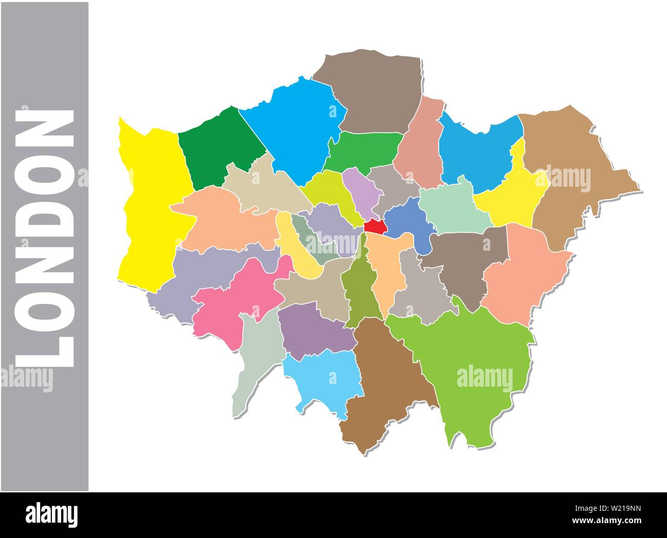 Colorful London administrative and political map with coat of arms - Stock Image