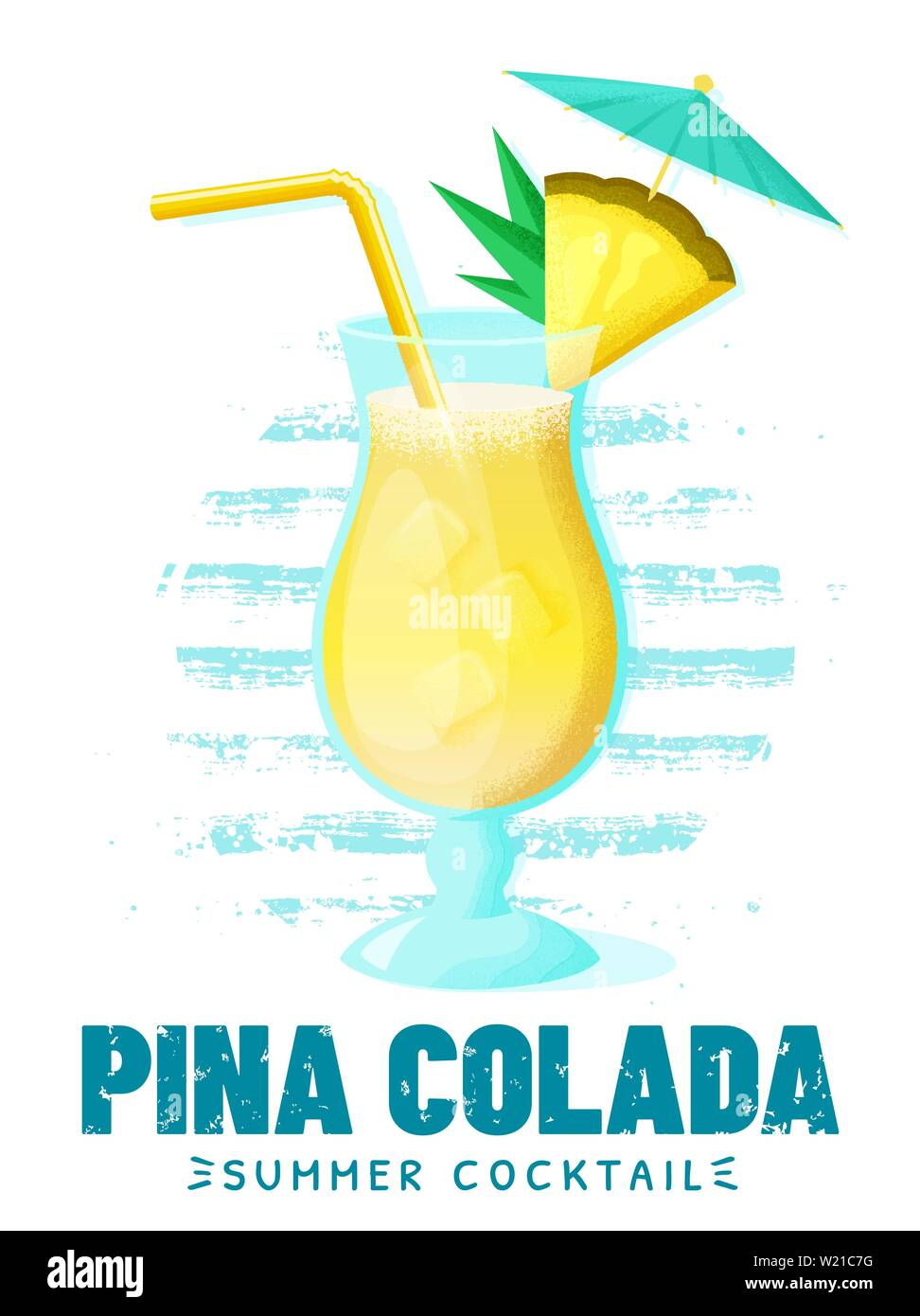 Pina Colada - summer cocktail with pineapple slice, straw and umbrella. Poster with glass of alcoholic drink on striped background. Vector illustratio Stock Vector