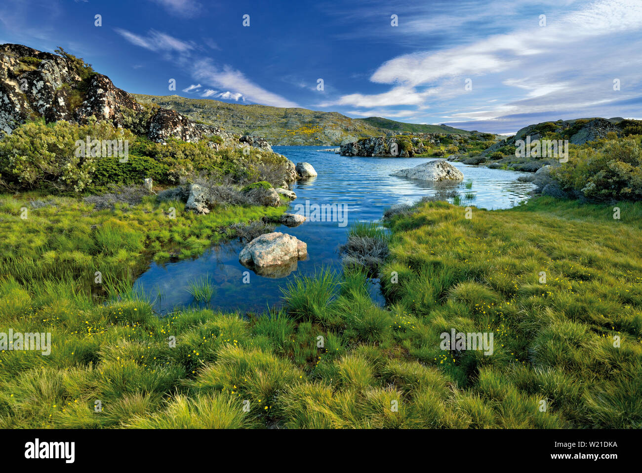 Green mountain landscape with lake and granite rocks - Stock Image