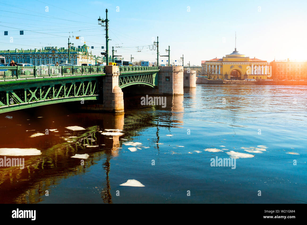 Admiralty arch on the embankment of Neva river and Palace bridge in Saint Petersburg,Russia - city landscape Stock Photo