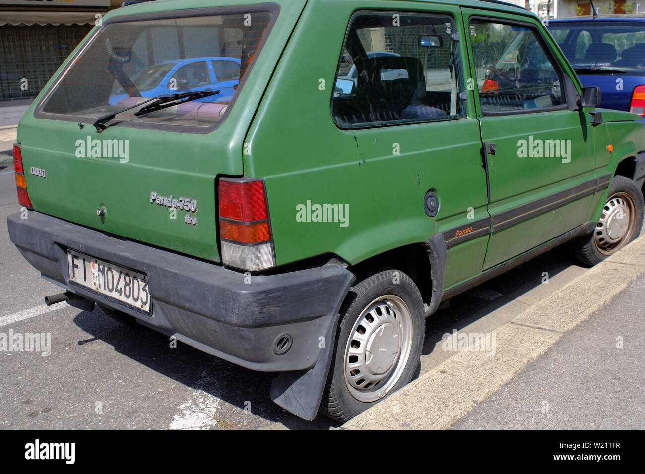 Vintage Green Fiat Panda Parked In A Urban Scenario Florence Italy Stock Photo Alamy