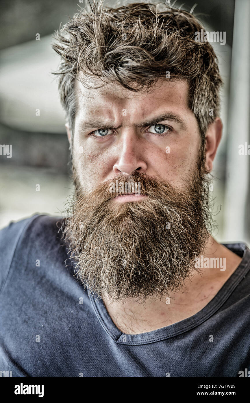 Man with beard and mustache thoughtful troubled. Making important life choices. Making hard decision. Bearded man concentrated face. Hipster with beard thoughtful expression. Thoughtful mood concept. - Stock Image
