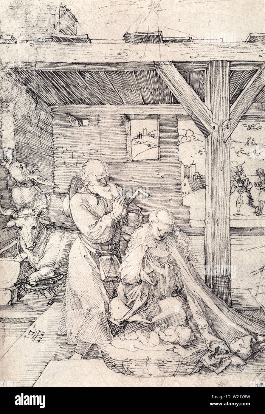 Albrecht Dürer - Nativity Adoration Christ Child Stables Virgin Saint Joseph 1514 - Stock Image