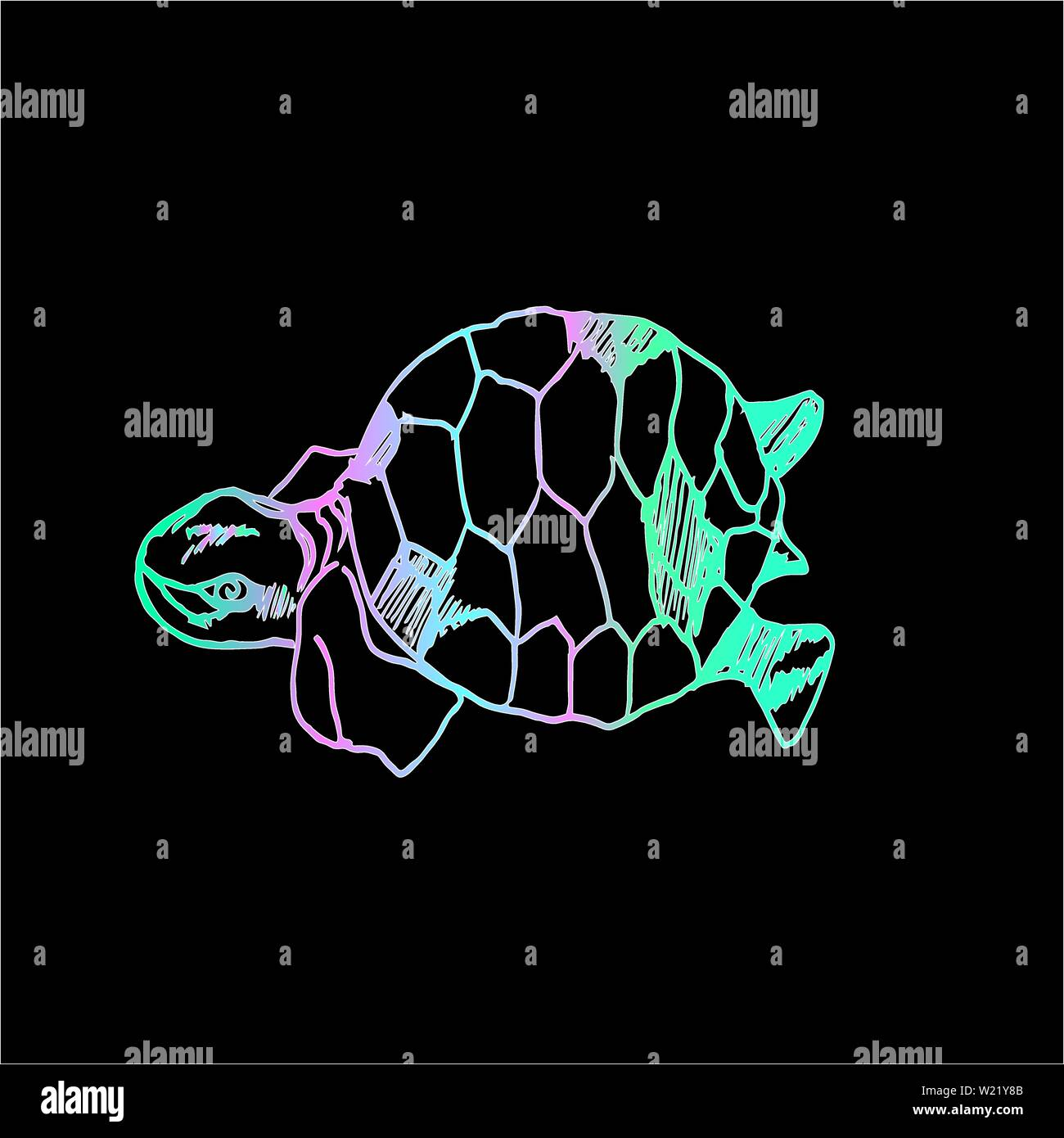 Neon illustration of a psychedelic turtle. - Stock Image