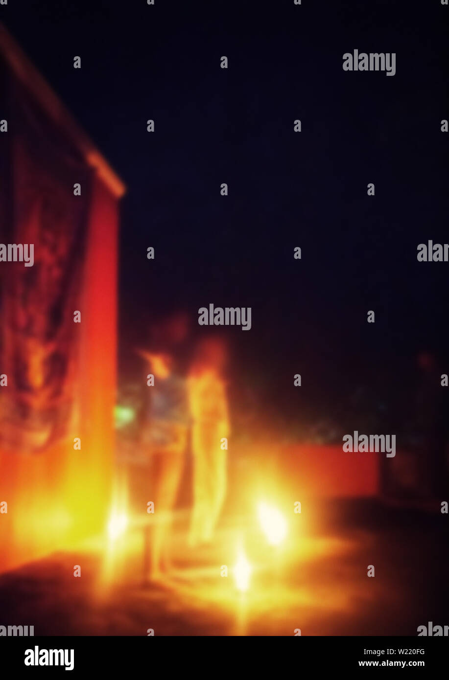 strong blurred, mystical sacred action in the style of yoga and shamans - Stock Image