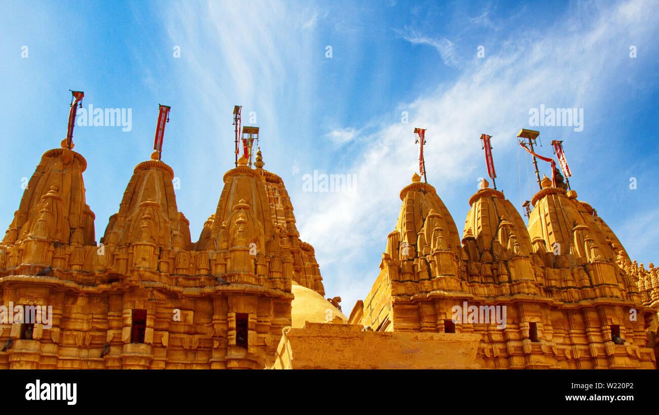 Jaisalmer, India. Jain acient temple. Jainism is a humane religion that forbids harm to any creature. Ahimsa - nonviolence. Shree Chandraprabhswami Ji - Stock Image
