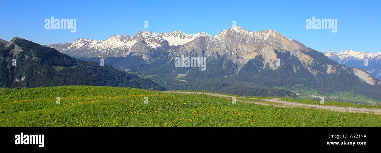 Stunning view from Obermutten, Canton of Grisons, Switzerland. - Stock Image