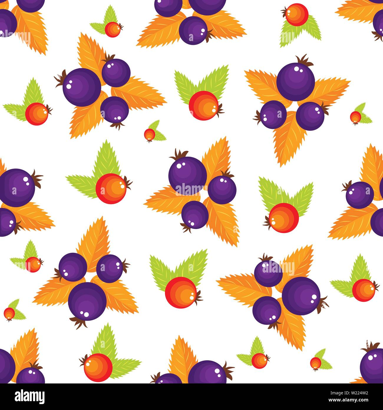 Assorted forest berries seamless pattern. Simple naive rustic style repeatable motif in red and violet colors for background, wrapping paper, surface - Stock Vector