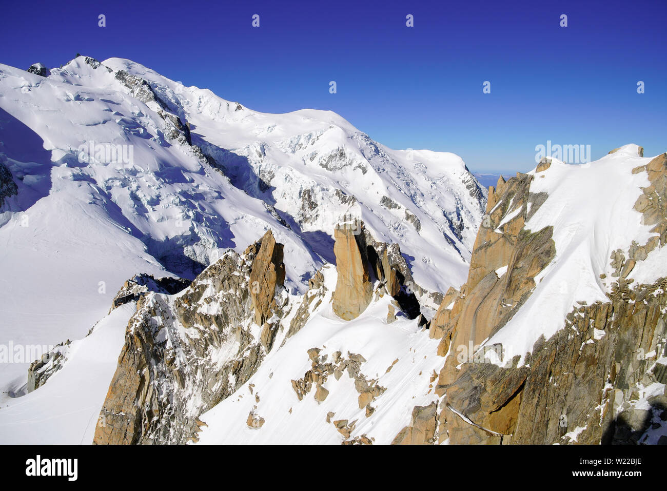 View of Mont Blanc massif in the French Alps above Chamonix. France, From Aiguille Du Midi cable car station. - Stock Image