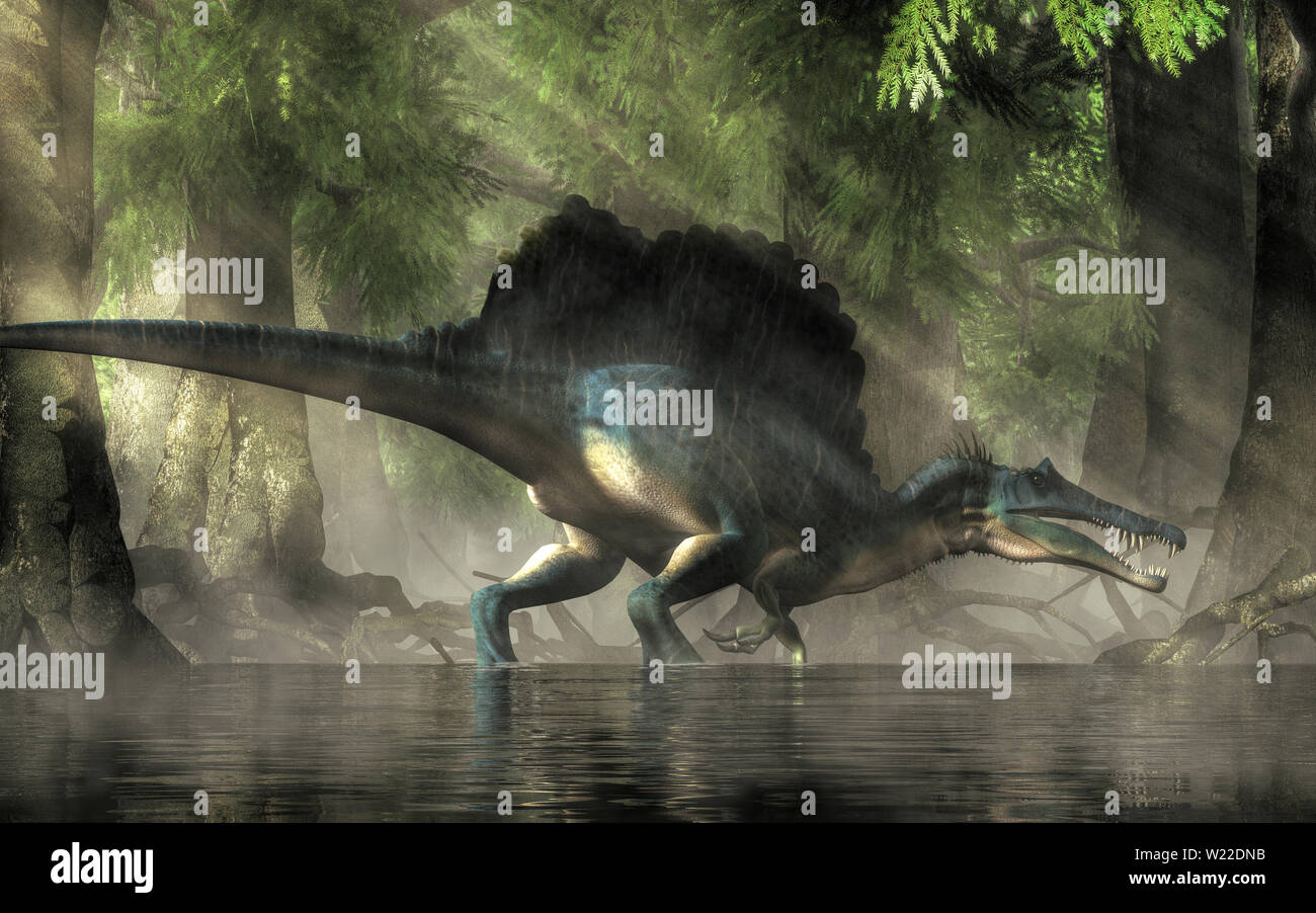 A spinosaurus in a forest.  Spinosaurus was semi-aquatic dinosaur from the Cretaceous period.  It was one of the largest carnivorous dinos ever.  3D R - Stock Image