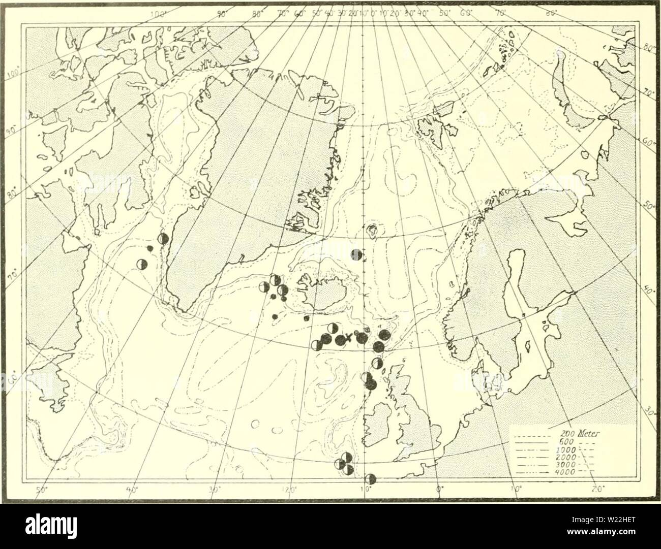 Archive image from page 17 of The Danish Ingolf-expedition (1899-1953). The Danish Ingolf-expedition  danishingolfex4cpt11daniuoft Year: 1899-1953  TOMOFTERIDjE AND typhloscolecid. always found near the surface of the ocean, entered these two areas, viz: the Irminger Sea and the Davis Strait? They have probably followed the branch of the North Atlantic Drift which W. of Ireland turns north- wards and, following the south and west coast of Iceland, enters the northern part of the Denmark Strait. Part of this current transforms into the cold East Greenland current, which turns round Cape Farewel - Stock Image