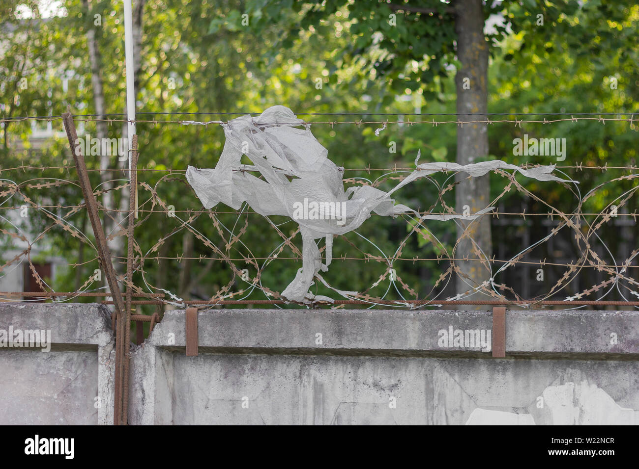 barbed wire prison fence security forbidden Stock Photo