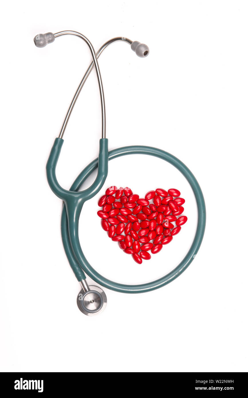 stethoscope in the shape of a heart Stock Photo