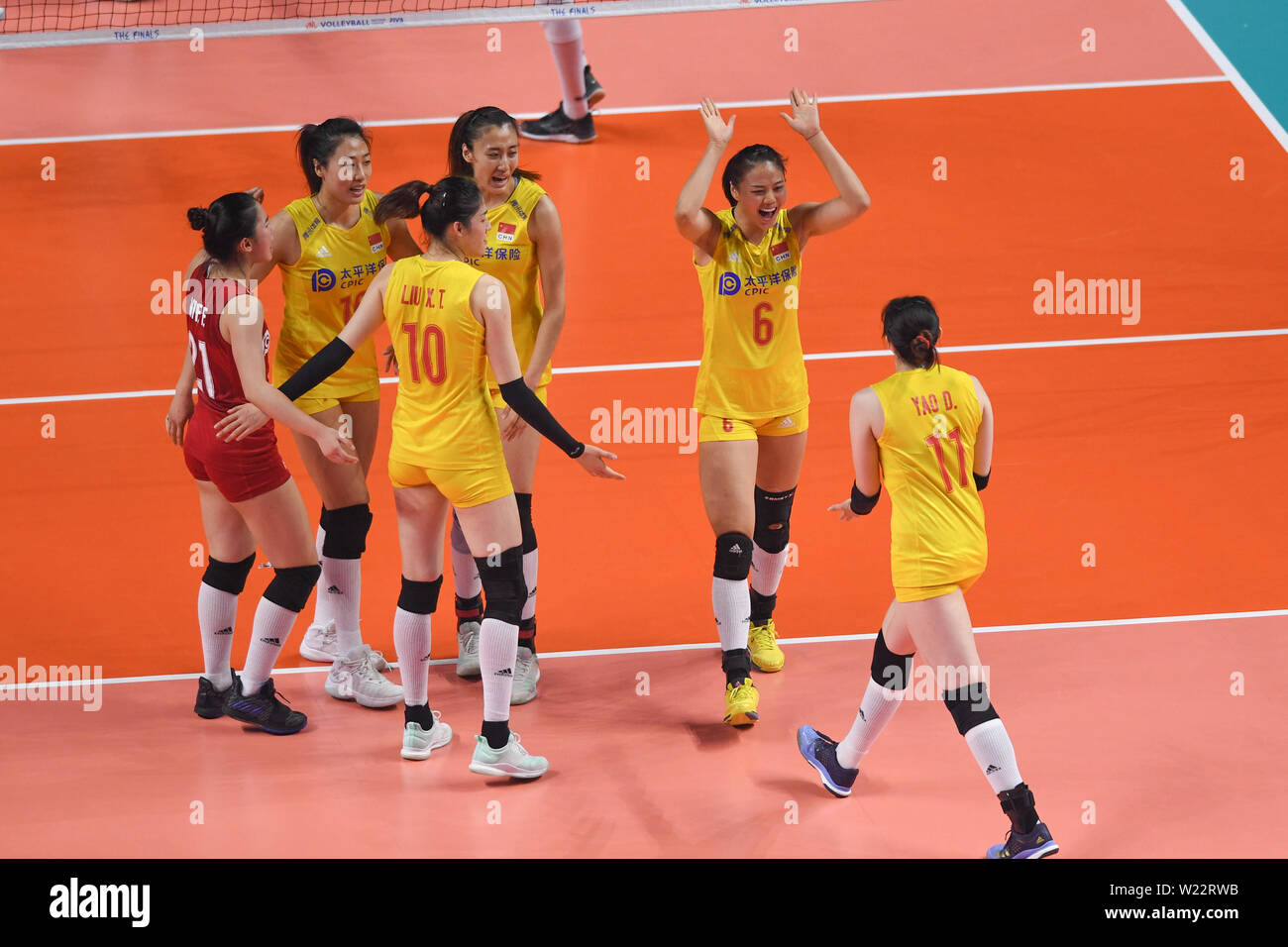 190705) -- NANJING, July 5, 2019 (Xinhua) -- Players of China
