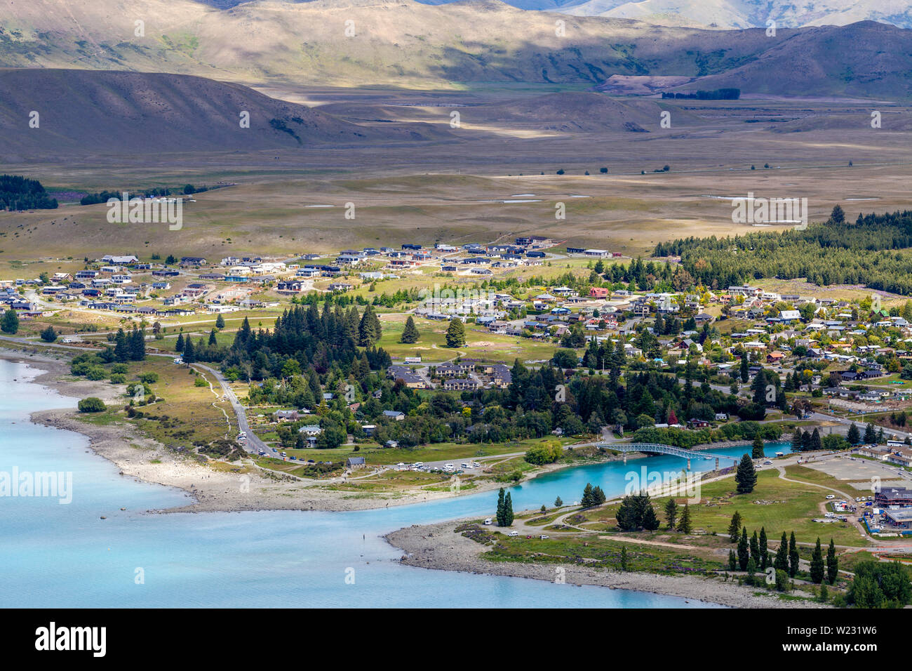 Lake Tekapo Town and Lake Tekapo, Canterbury Region, South Island, New Zealand Stock Photo