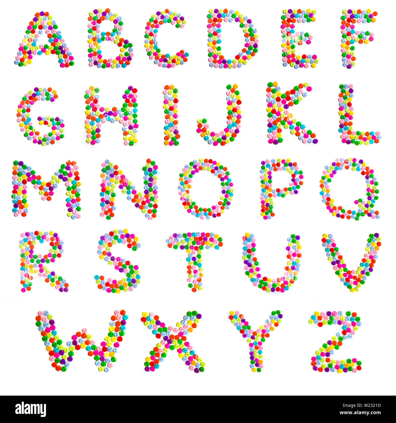 Alphabet, letters A-Z English alphabet of many small bright