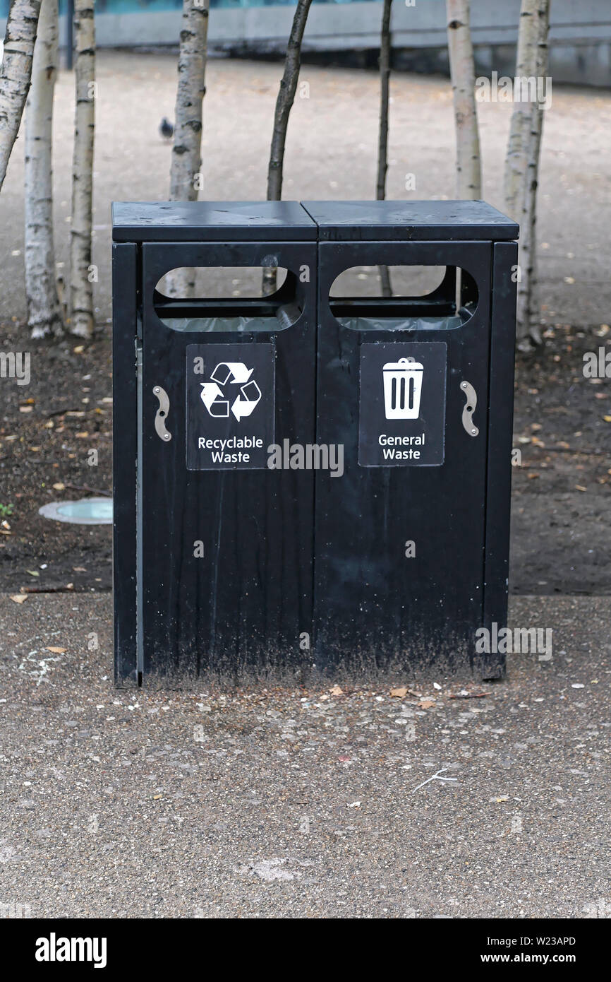 Double Black Trash Can for General Waste and Recycling - Stock Image