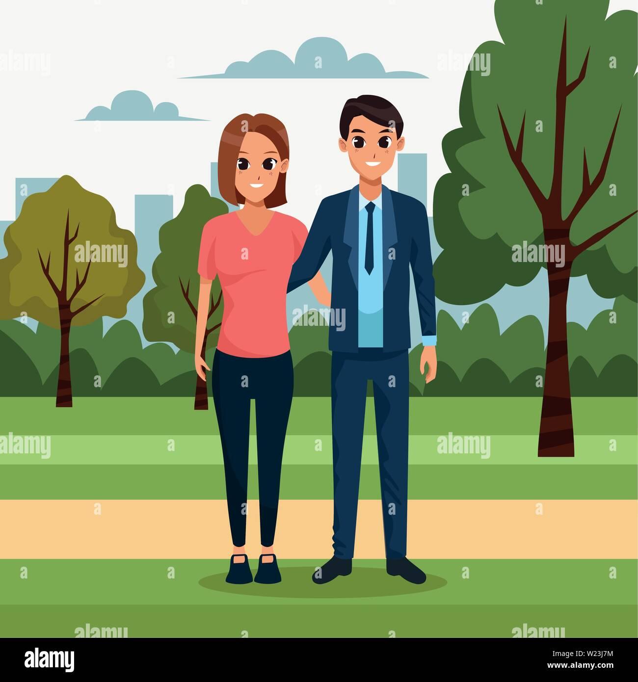 Young couple in the park scenery - Stock Vector