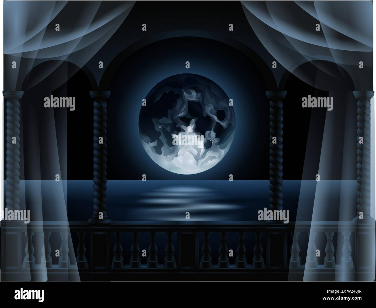 round full moon reflected on the sea seen from the balcony illustration vector - Stock Image