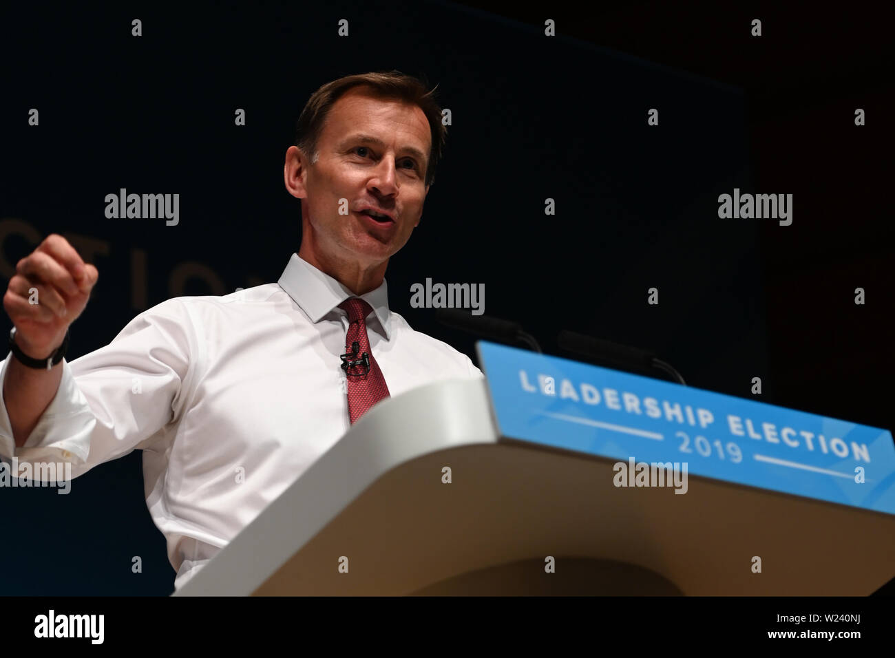 Perth, Scotland, United Kingdom, 05, July, 2019. Conservative Party leadership Jeremy Hunt addresses a leadership election hustings for party members. © Ken Jack / Alamy Live News - Stock Image