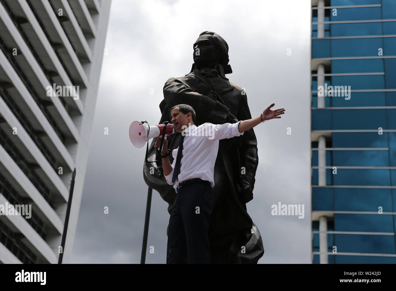 Caracas, Venezuela. 05th July, 2019. Juan Guaido, self-proclaimed interim president of Venezuela, speaks at a rally on Independence Day. Guaido has called on civil society to protest against the government of Head of State Maduro. Venezuela commemorates on July 5 the independence of Spain in 1811. Credit: Rafael Hernandez/dpa/Alamy Live News - Stock Image
